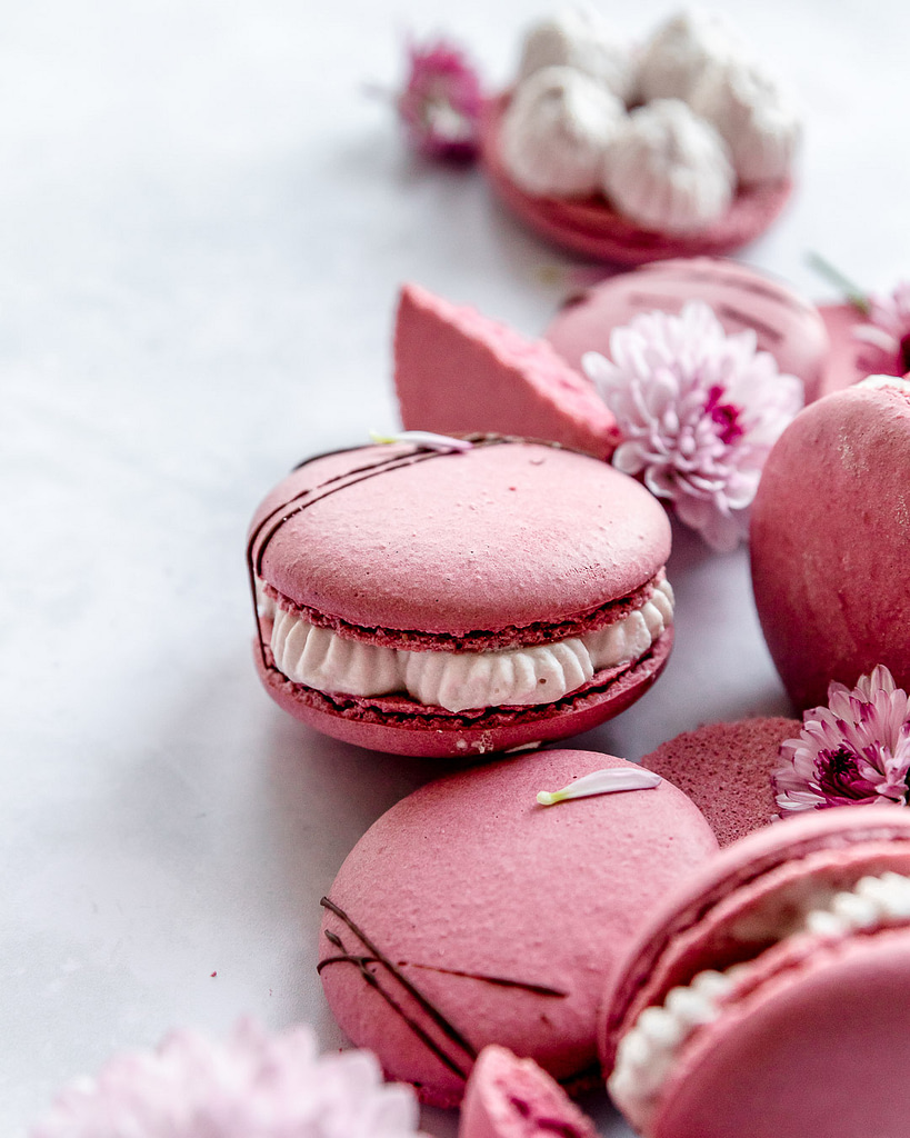 Macarons nestled against each other