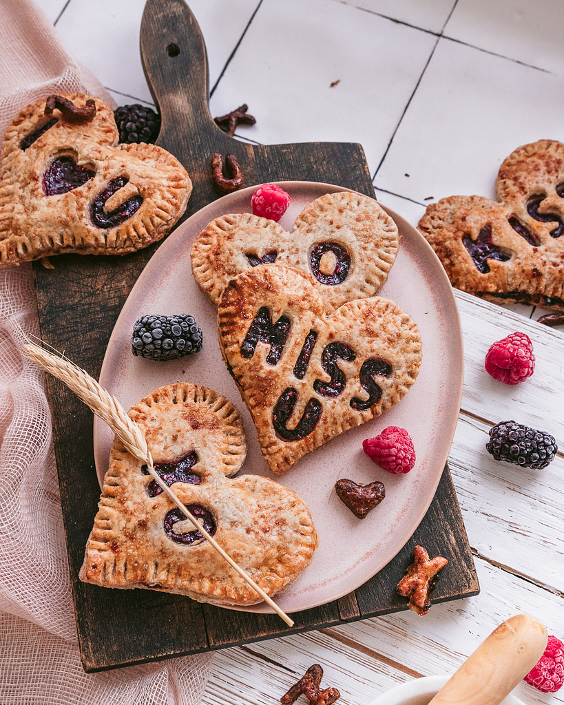 fresh and hot mixed berry hand pies