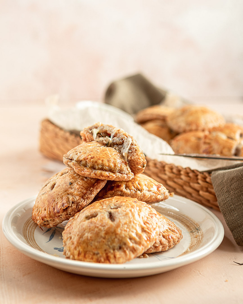 A stack of savory hand pies