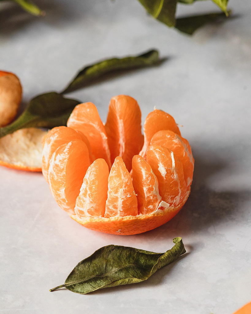 Close up of a peeled clementine