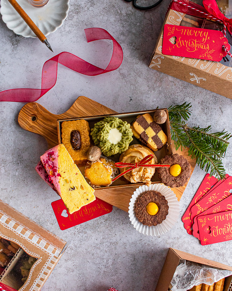 assorted holiday cookie box