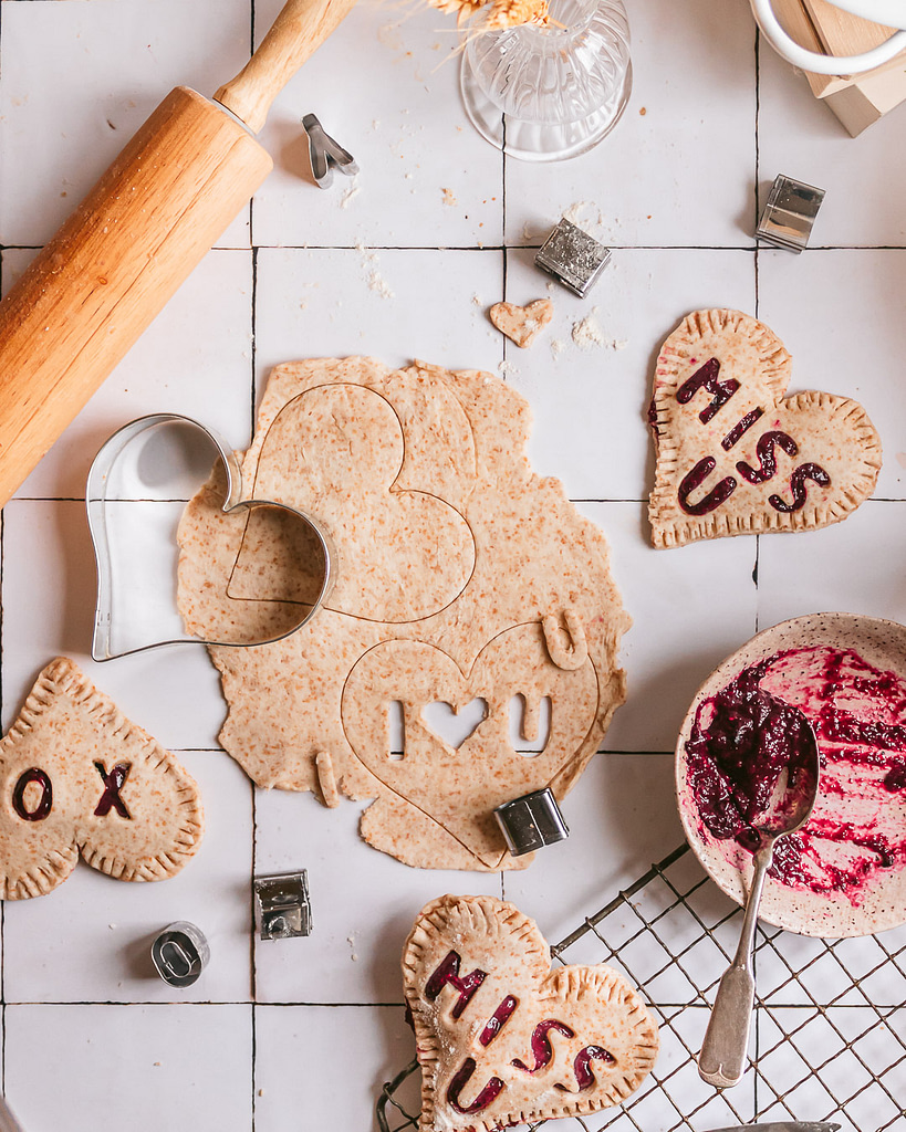 cutting out messages on small pies