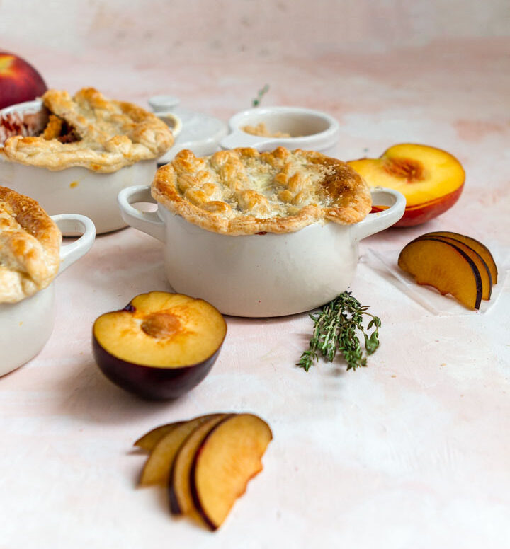 peach pies in cocottes